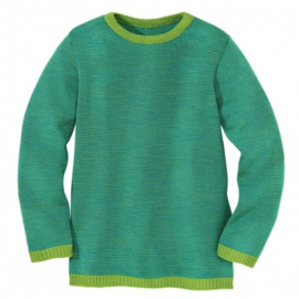 Disana - Gebreide trui in merinowol - Groen/Blauw melange