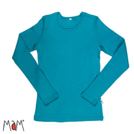 Manymonths MaM - Longsleeve shirt / trui in merinowol - Royal Turquoise in S / M / L