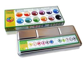 Okonorm - Verfdoos waterverf - 12 kleuren