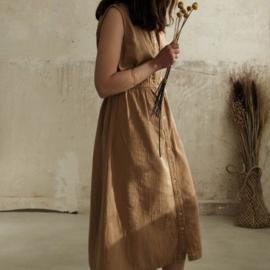 Poudre Organic - Magnolia Lange jurk zonder mouwen - Indian Tan