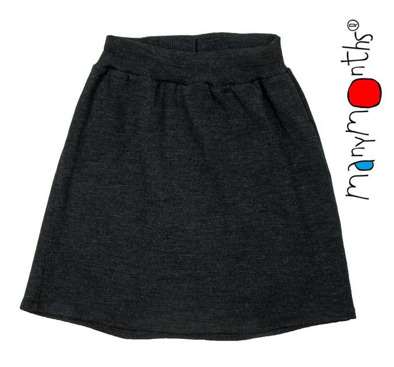Manymonths - Princess skirt Rok in merinowol - Foggy Black
