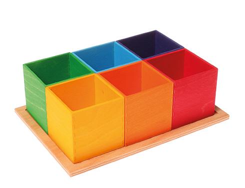 Grimm's - Kleine sorteer bakjes, ook los van elkaar te gebruiken, 6 stuks, regenboogkleuren - 10298