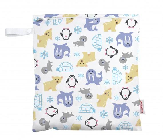 Imse Vimse - Luiertasje of Wetbag voor natte doekjes, verzameltasje voor speelgoedjes, schattenenz.,  28x26 cm- Snowland