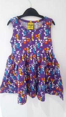 Duns - Women Mouwloze jurk dress gathered - Purple Flowers - Small