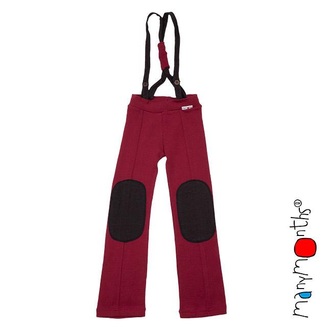 Manymonths - Hazel pants Salopette / Broek met afneembare riemen - meegroei 3 tem 5 jaar - Raspberry Red