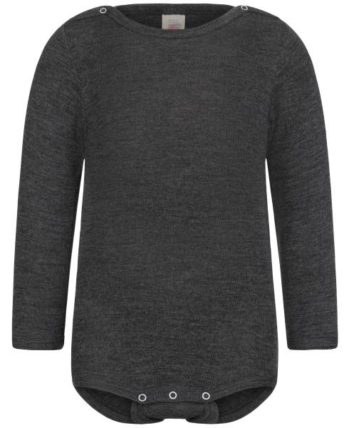 Engel Natur - Body romper lange mouw wol zijde - Basalt grijs in 74/80