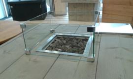 Inbouwhaard 29x29cm met glasbombouw