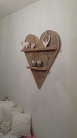 Wandbord hart strak met 2 plankjes