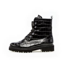 Gabor Biker Boots | Black Croco