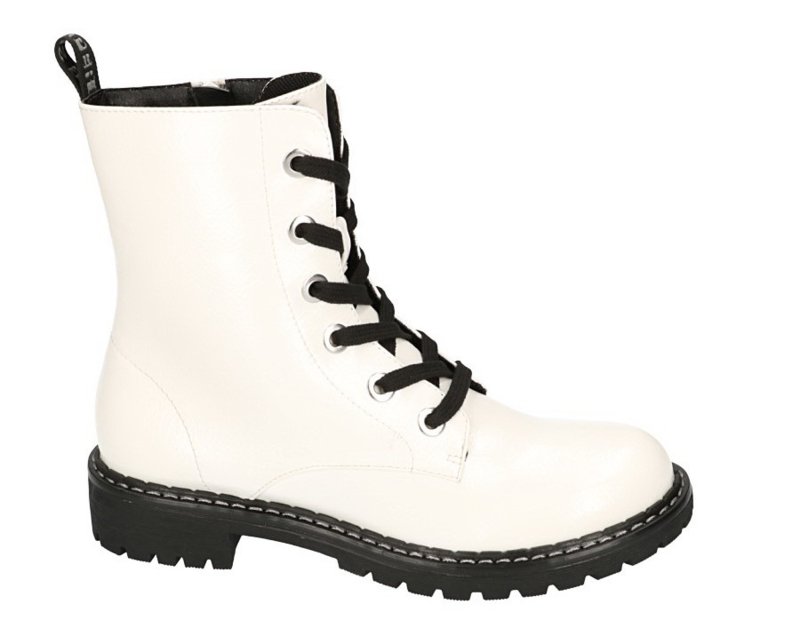 Super Crack Biker Boots | White