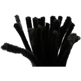 Chenille draad zwart 25 stuks