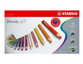 Stabilo woody 3 in 1 potloden set van 18 stuks met puntenslijper
