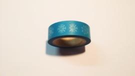 Washi Tape ijsbloemen blauw