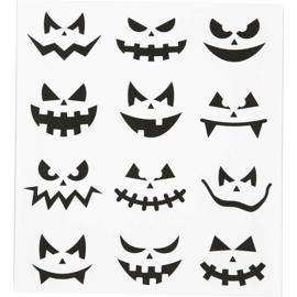 Stickervel Halloween gezichten