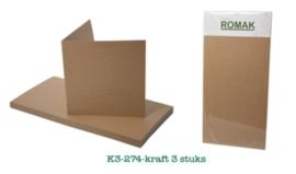 Vierkante Kaarten kraft, 3 stuks van Romak