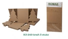 Kerstboom kaarten kraft, 3 stuks van Romak