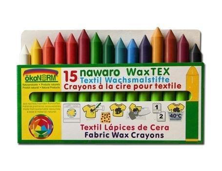 Textiel waskrijtjes in 15 kleuren