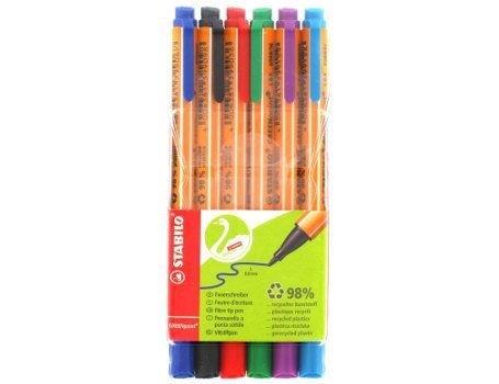 Viltstift-pennen Greenpoint 6 kleuren in hoesje