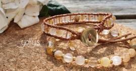 Golden Healer edelstenen armband 6 mm & wrap 6 mm