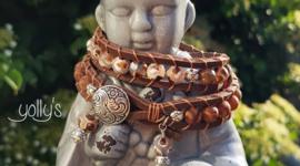 Tibetaanse agaat wrap armband bruin