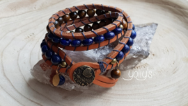 Tijgeroog Lapis Lazuli wrap armband