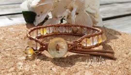Golden Healer edelstenen wrap armband 6 mm
