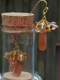 Cherry quarts blokkraal oorbellen