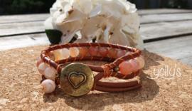Oranje Botswana Agaat edelstenen wrap armband