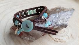 Tibetaans groene Agaat wrap armband