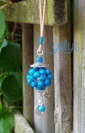 Turquoise bloembal ketting