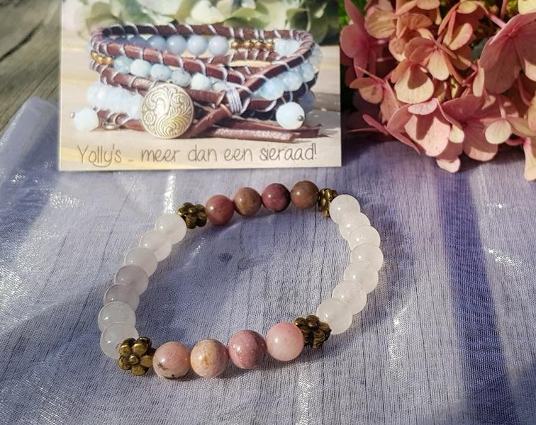 Rhodoniet met Rozenquartz edelsteen armband
