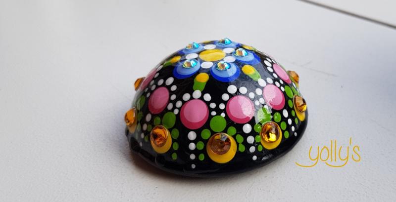 Gestipte bol lichtblauw/geel epoxy