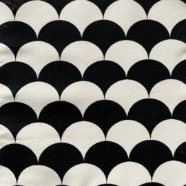 Aankleedkussenhoes halve maantjes zwart/wit