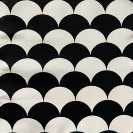 Boxkleed halve maantjes zwart/wit