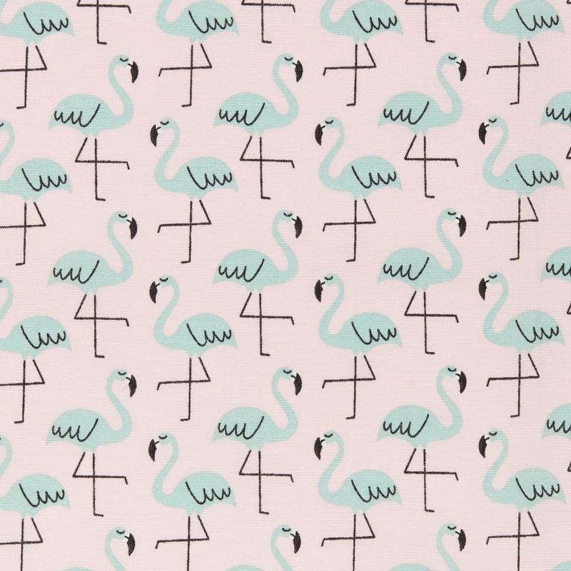 Rond boxkleed flamingo roze/mint