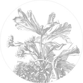 Behang | Cirkel Engraved Flowers