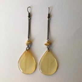 Yellow tulip oorbellen lang