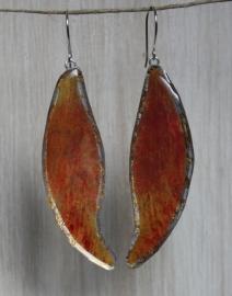 Orange Feathers Oorbellen