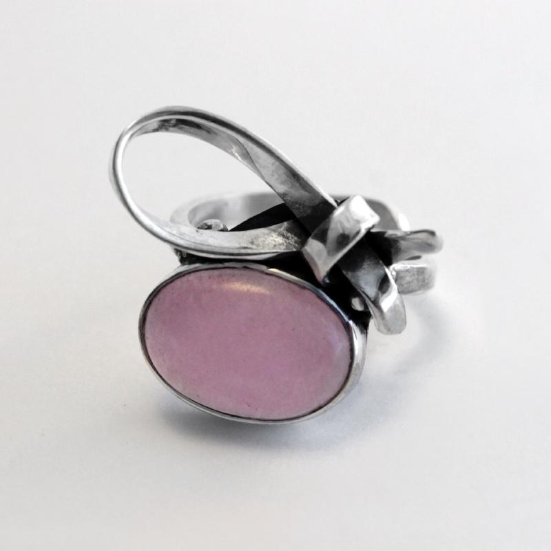 Gestrikt Roze Kwarts Ring