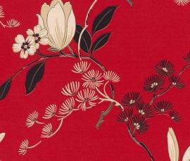 japans chinees bloemen oosters motief rood behang 822519