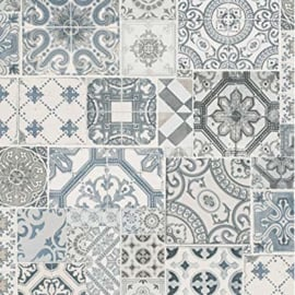 tegel behang blauw grijs vlies xx98