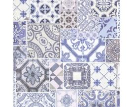 tegel behang blauw vlies xx97