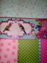 meisjes roze blauw groen bloemen behang 13
