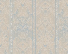 Behang, blauw, bruin, metallics verouderde look 338 653