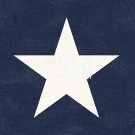 Esta Regatta Crew 136454 donkerblauw wit sterren behang
