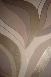 beige bruin glinster retro bladeren behang 10