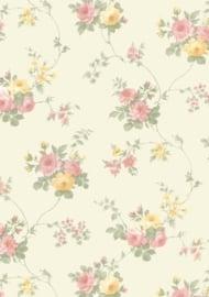 dollhouse 68847 rood geel beige stijlvol bloem behang