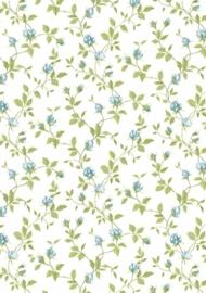 dollhouse 68850 wit groen blauw stijlvol bloem behang