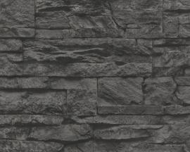707116 grijs zwart steen vlies behang -