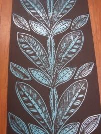 bruin blauw bladeren behang 22